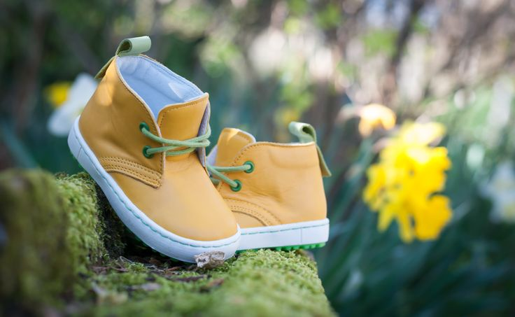 Yellow Leather Shoes. Emel First shoes for trendy toddler