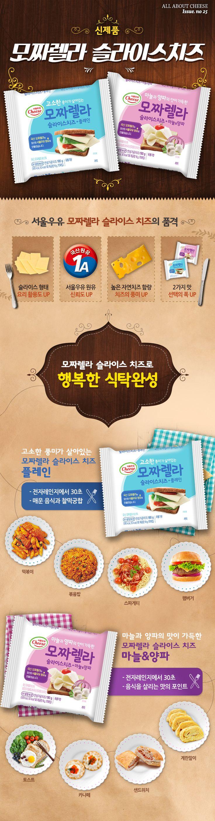 모짜렐라가 햄버거 안에도 들어가는 요즘, 치즈 덕후들의 마음을 설레게 할 서울우유 신제품이 출시됐어요! 이름하여 모짜렐라 슬라이스 치즈~ 이젠 들고 다니면서 먹을 수 있답니다. 아 참, 어 떤 맛을 좋아할지 몰라서 두 가지 맛으로 준비해봤어요. 에헴!