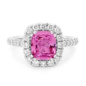 Cushion Cut pink Sapphire and diamond halo ring 0805048 #LoveDI #diamond #Engagement #Ring #elegant #gold #sapphire #sparkle #halo