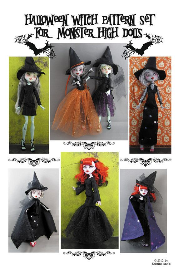 Monster High Dolls  Halloween Witch Pattern by KristineAnns, $8.00