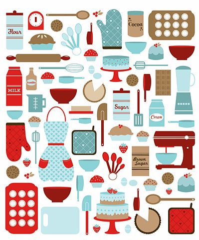 aqua red kitchen print