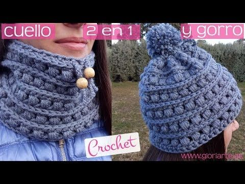 2 en 1 Cuello y gorro de ganchillo a la vez. Scarf and crochet hat at the same time. - YouTube