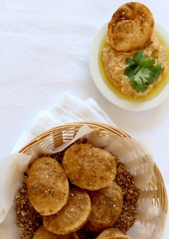 Puri with Butter Bean Dip and Dukkah