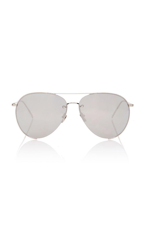 LINDA FARROW Silver-Tone Aviator-Style Sunglasses. #lindafarrow #sunglasses