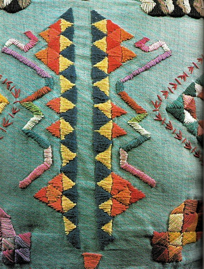 Teal, orange, yellow embroidery