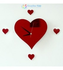 Kalp Ayna Duvar Saati