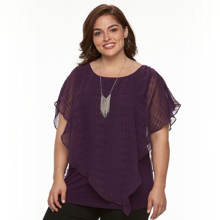 Plus Size AB Studio Textured Popover Necklace Top