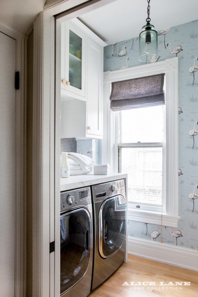 Bird Wallpaper In This Small But Cute Laundry Room Historic