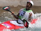 Daniele Molmenti of Italy celebrates winning the gold medal in the men's Kayak Single (K1)