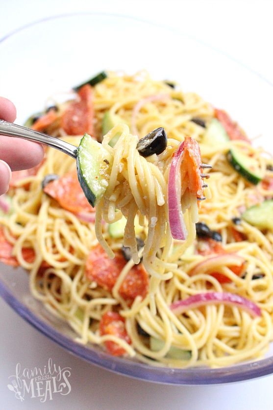 This Italian Spaghetti Pasta Salad Recipe has all the flavors of Italy in one bowl. It