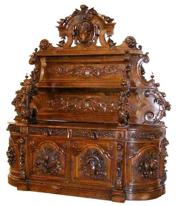 Monumental Carved Victorian Sideboard By Alexander Roux, NYC: