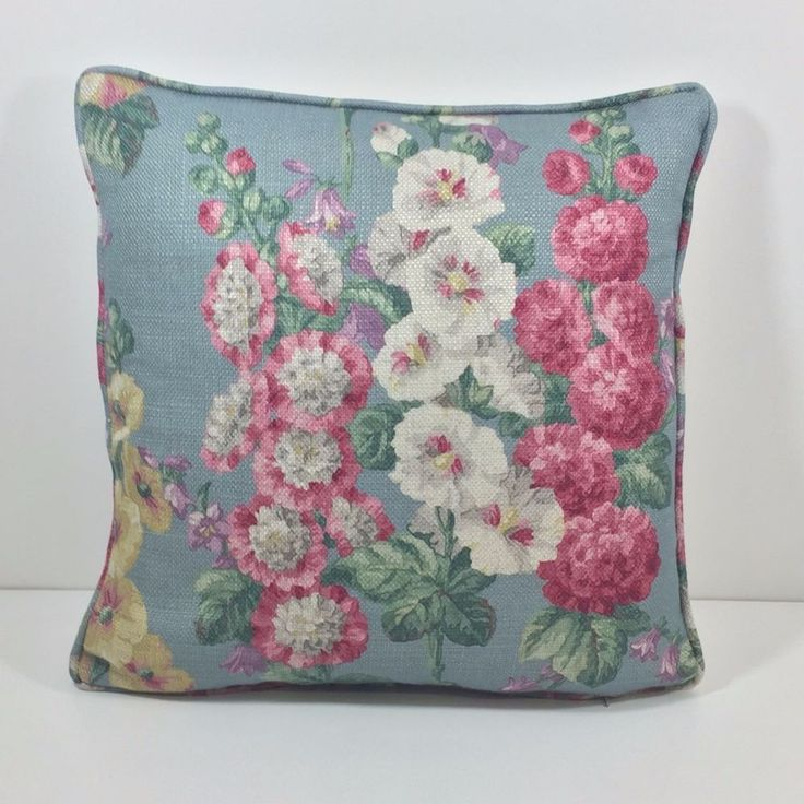 Sanderson Fabric Cushion Cover Hollyhocks Petrol Blue/Multi Many Sizes Piped…