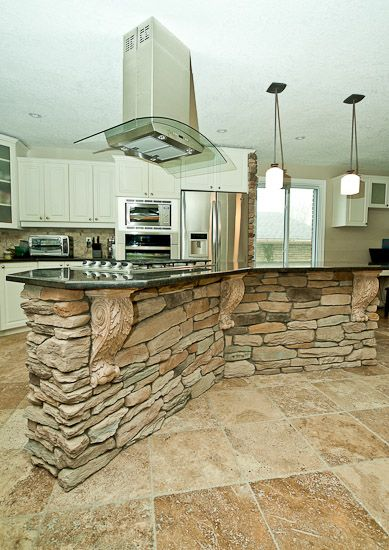 Oh My! kitchen stone veneer | Quo Vadis Interiors  Stone Veneer Kitchen  Island &