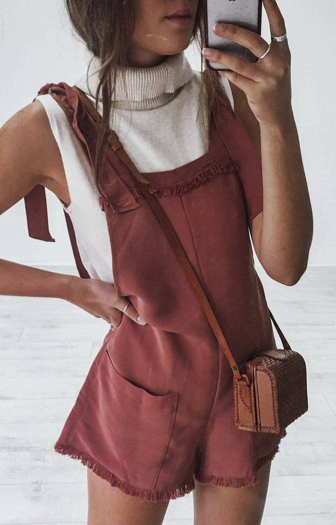 #summer #outfits Wine HEART OF GOLD Playsuit + White VIVIEN Top