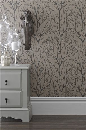 Buy Twiggs Mink Wallpaper from the Next UK online shop