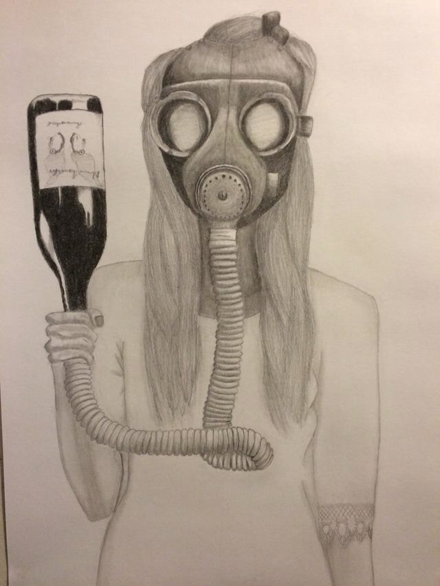 Gas mask, rorscharch wine co,  by Ashleigh Hunter