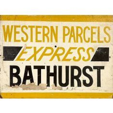 N.S.W. Platform parcel's van sign (45 x 61) from Regent Street, c1950s: Western Parcels Express Bathurst - tan and black on off-white with tan frame. Has blackboard inserts for platform and departure details