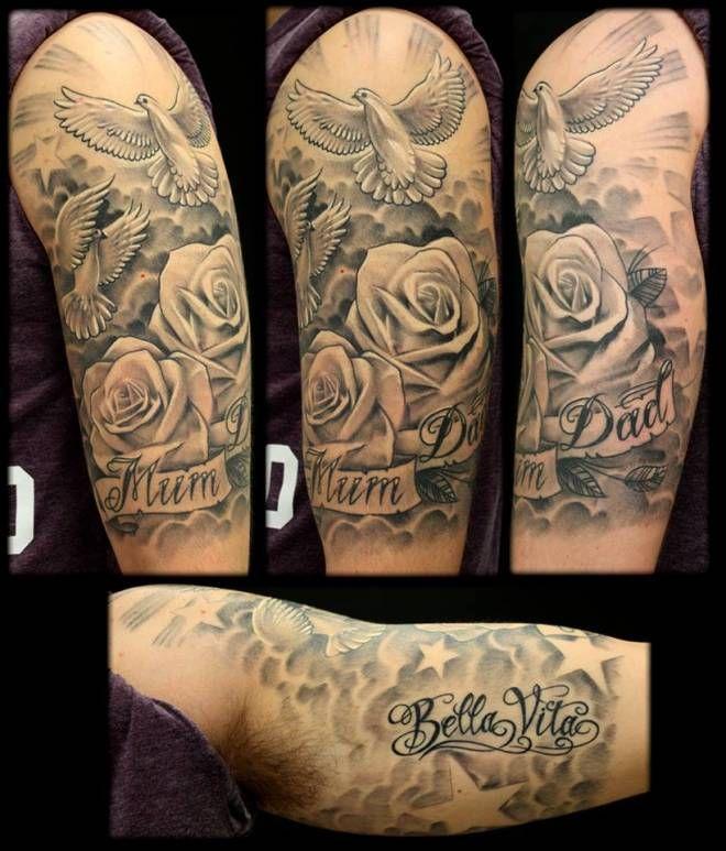 Doves Roses Inkfreakz Com Half Sleeve Tattoo Sleeve Tattoos Cloud Tattoo Sleeve
