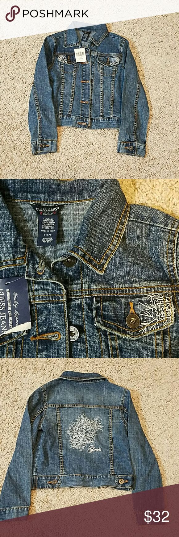 """GUESS GIRL JACKET NWT Girl Guess Jacket, gorgeous and light weight to wear. Size 7 - 8  AP to AP 30""""  LENGTH 16""""  WAIST FLAT DOUBLED 26"""" Guess Jackets & Coats Jean Jackets"""