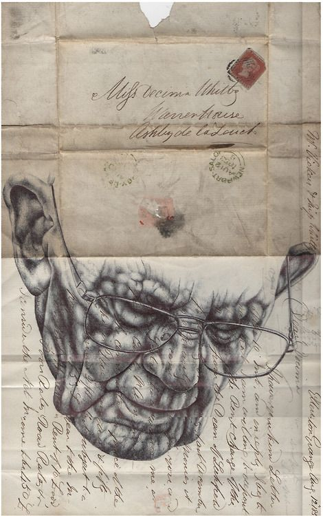 Mark Powell. 'and the words tore me apart' Bic biro drawing on 1853 letter/envelope.