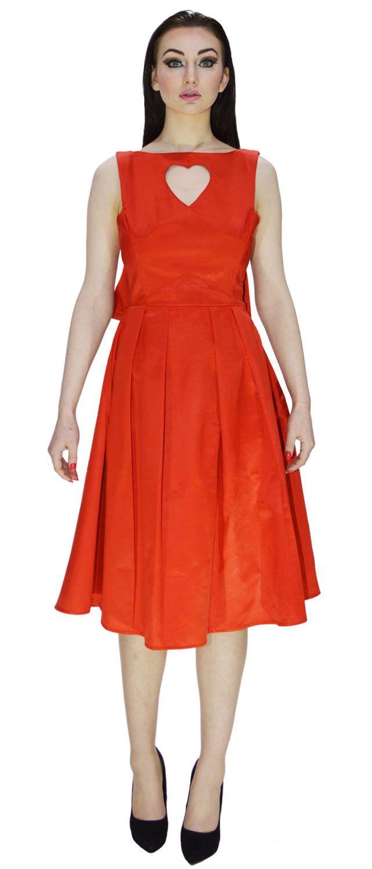 Oscars Date Red Heart Romance Evening Dress