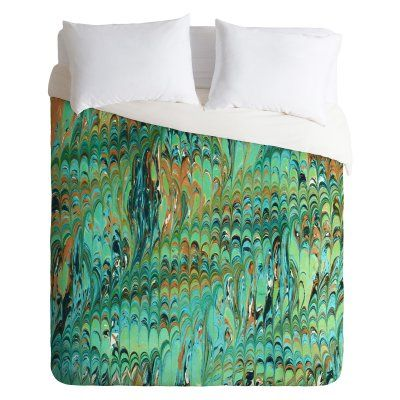Amy Sia Marble Wave Sea Green Duvet Cover by DENY Designs - 63036-DLITWI
