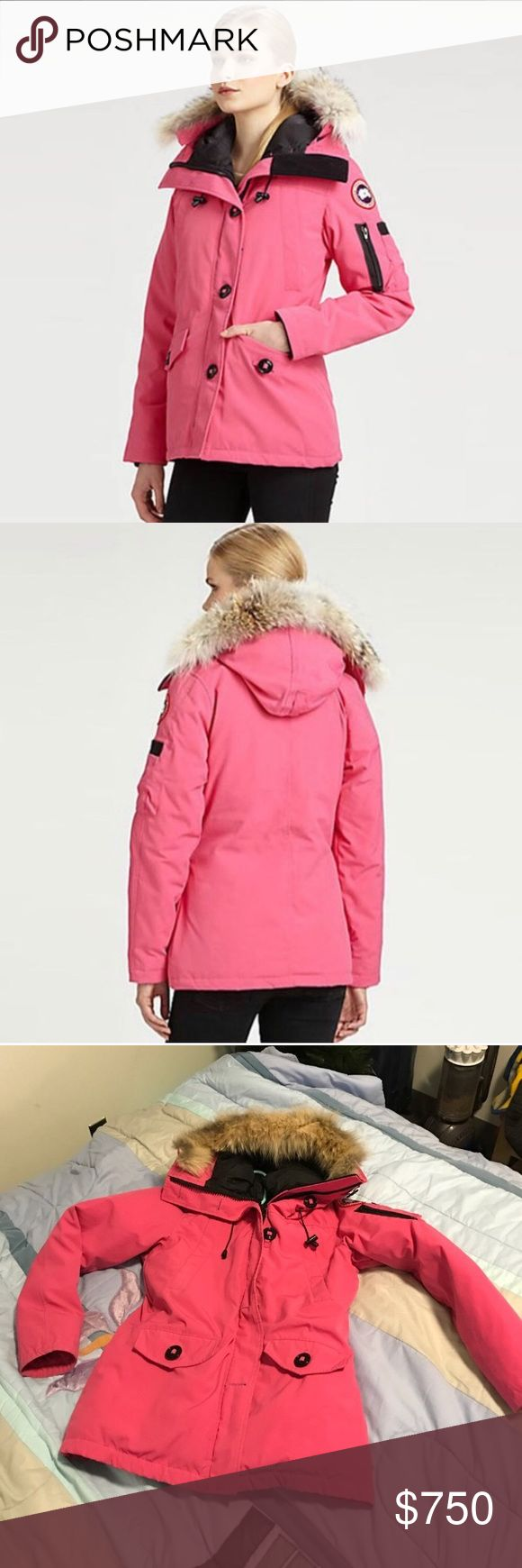 CANADA GOOSE RESERVED FOR TRADE ❤️ 100% AUTHENTIC $1000.00 PLUS TAX RETAIL CANADA GOOSE FEMME WOMENS PARKA COAT SIZE MEDIUM, FITS A SMALL EASILY AS WELL. GUARANTEED AUTHENTIC FROM BLOOMINGDALES IN NEW YORK WITH HOLOGRAM TO PROVE AUTHENTICITY. SUPER WARM AND INSULATED WILL KEEP YOU WARM IN EVEN THE COLDEST WEATHER. WORN 1 SEASON GREAT GENTLY USED CONDITION, A LITTKE FADING. •••PRICED TO SELL SAME DAY, OFFERS WELCOME THROUGH THE OFFER OPTION, NO TRADES OR HOLDS••• Canada Goose Jackets & Coats…