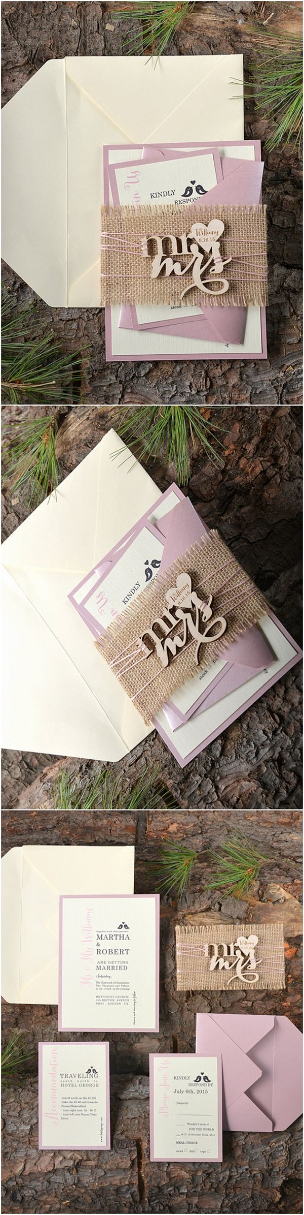 Rustic Wood Birds Burlap Pink Wedding Invitations - Deer Pearl Flowers