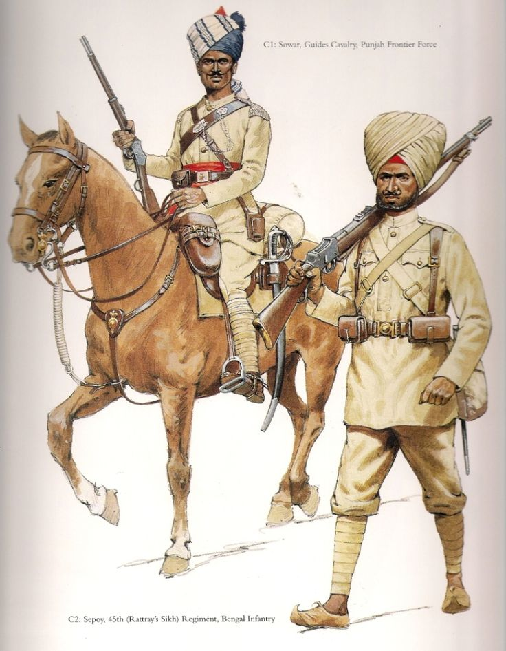 "Sowar Guides Cavalry Punjab Frontier Force & Sepoy 45th(Rattray's) Sikh Regiment Bengal Infantry, c.1898.   A colour plate from ""The Frontier Ablaze""."