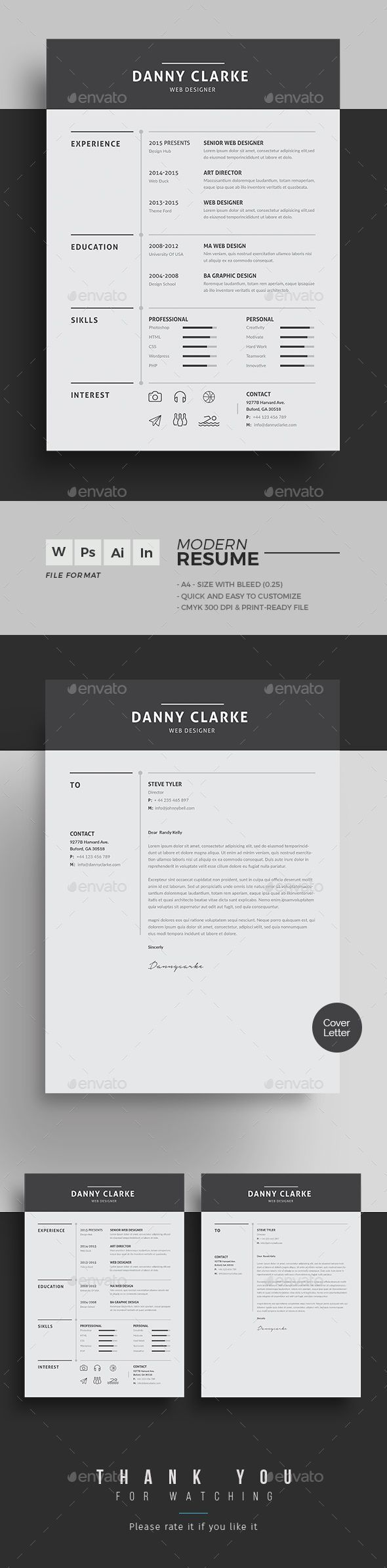 Simple & Clean PSD Resume Template  Download https://graphicriver.net/item/resume/19241400?ref=themedevisers