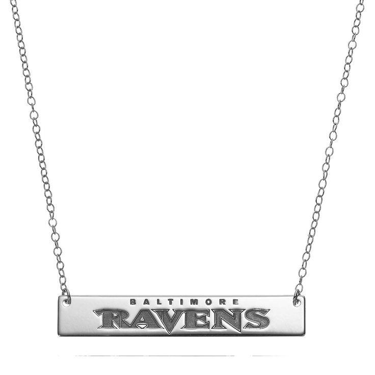 "Baltimore Ravens Sterling Silver Bar Link Necklace, Women's, Size: 18"", Grey"