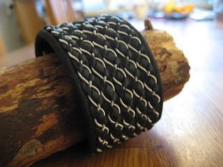 tin thread and black reindeer leather bracelet