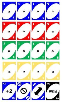Template for UNO Cards.  Includes a sheet of blue, red, green, yellow cards, as well as a sheet of special cards (draw two, skip turn, reverse and wild cards).  There are both high color versions AND low color.Great game for a variety of content areas - you can put words, numbers, or symbols in the middle.