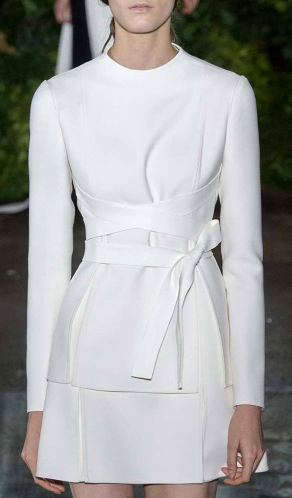 Crisp white long sleeves top with crisscross belt detail + mini skirt Valentino Fall Winter 2014 #Couture Paris Fashion #HauteCouture