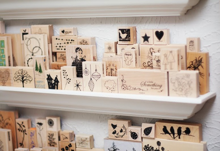 Wood mounted stamp storage shelves