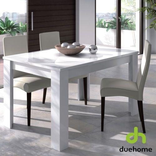 Mesa de comedor salón extensible mesa de cocina, mueble salon, Blanco Brillo