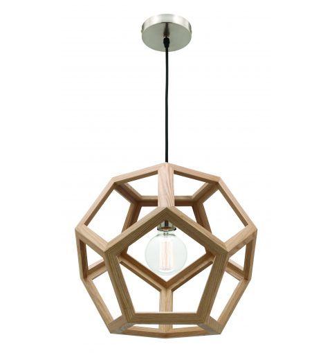 Peeta 40cm Timber Pendant Light, Natural Timber