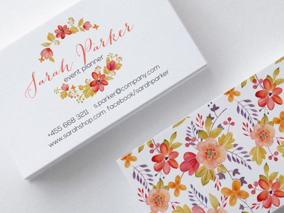 Floral Business Card Design, Ready to print, 2 Sides, Watercolor, Orange, Pink, Salmon, Ink Blue, Customizable