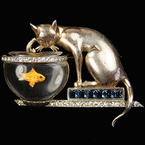 'Anthony Aquilino' Anthony Sterling Cat on Invisibly Set Sapphires Plinth Fishing in Jelly Belly Fish Bowl Pin: Anthony Aquilino, Anthony Sterling, Invisible Sets, Amazing Vintage, Costume Jewelry, Costume Bling, Fish Bowls, Belly Fish, Bowls Pin