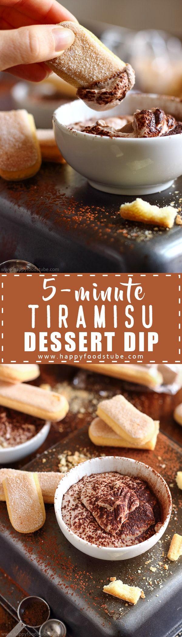 Easy 5-minute tiramisu dessert dip recipe. This rich & creamy dip made with mascarpone, cream, cocoa & coffee tastes like real tiramisu via @happyfoodstube