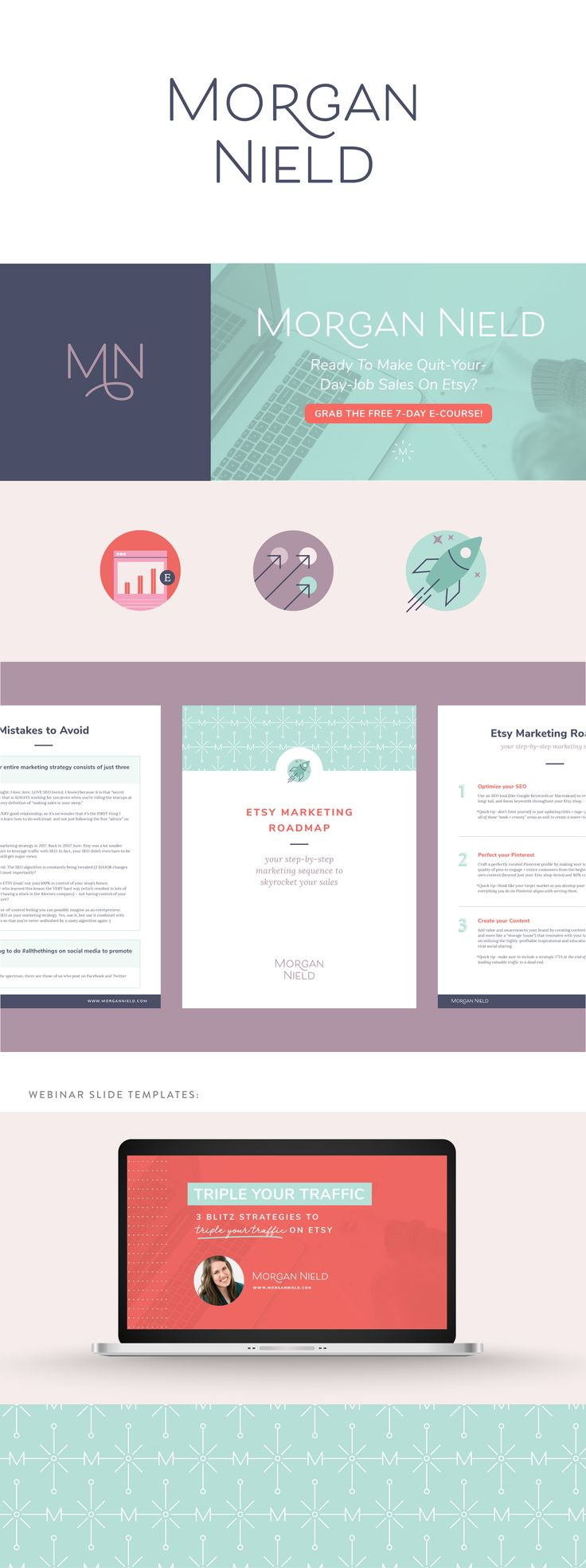 Morgan Nield brand identity | Spruce Rd. | logo design, pattern design, online marketing, e-course design, etsy, branding, icons, modern, worksheet design