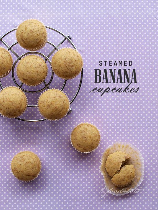 Steamed Banana Cupcakes - soft, moist and filled with banana flavour. #food4tots