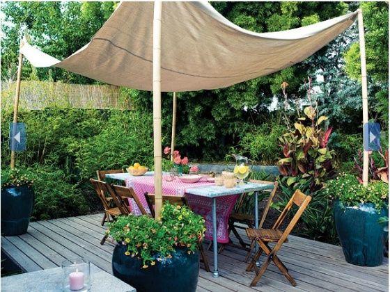 DIY Canvas Canopy for Instant Shade in the Backyard & Las 25+ mejores ideas sobre Canvas canopy en Pinterest