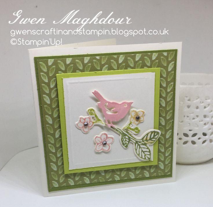 "Best Birds and Birds and Blooms Thinlits Dies 4 x 4"" card. gwenscraftinandstampin"