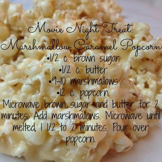 carmel popcorn with melted marshmallows | Movie Night Treat: Marshmallow Caramel Popcorn •1/2 c. brown sugar ...