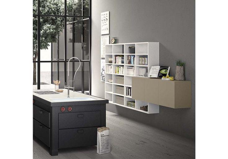 Contenitori componibili cucina ingresso living soggiorno mobili arredamento Pianca Spazioteca Logico bianco e tortora