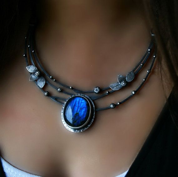 RESERVED - In the Darkening - Labradorite Sterling Silver Necklace