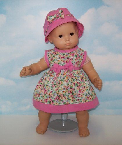 "Pink and Green Floral Dress with Matching Hat. Fits 15 Dolls like Bitty Baby® and Bitty Twin® by Beatrice Collection. $19.99. Matching outfit for 18"" doll also available."