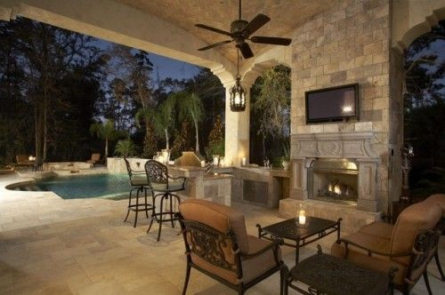 Patio mediterranean patioCovers Patios, Swimming Pools, Outdoor Living Spaces, Outdoor Kitchens, Back Porches, Outdoor Spaces, Dreams Patios, Backyards, Mediterranean Patios