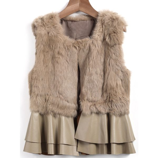 SheIn(sheinside) Khaki Sleeveless Rabbit Fur Coat (835 MXN) ❤ liked on Polyvore featuring outerwear, coats, sheinside, khaki, short coat, khaki coat, sleeveless coat, rabbit coat and brown coat